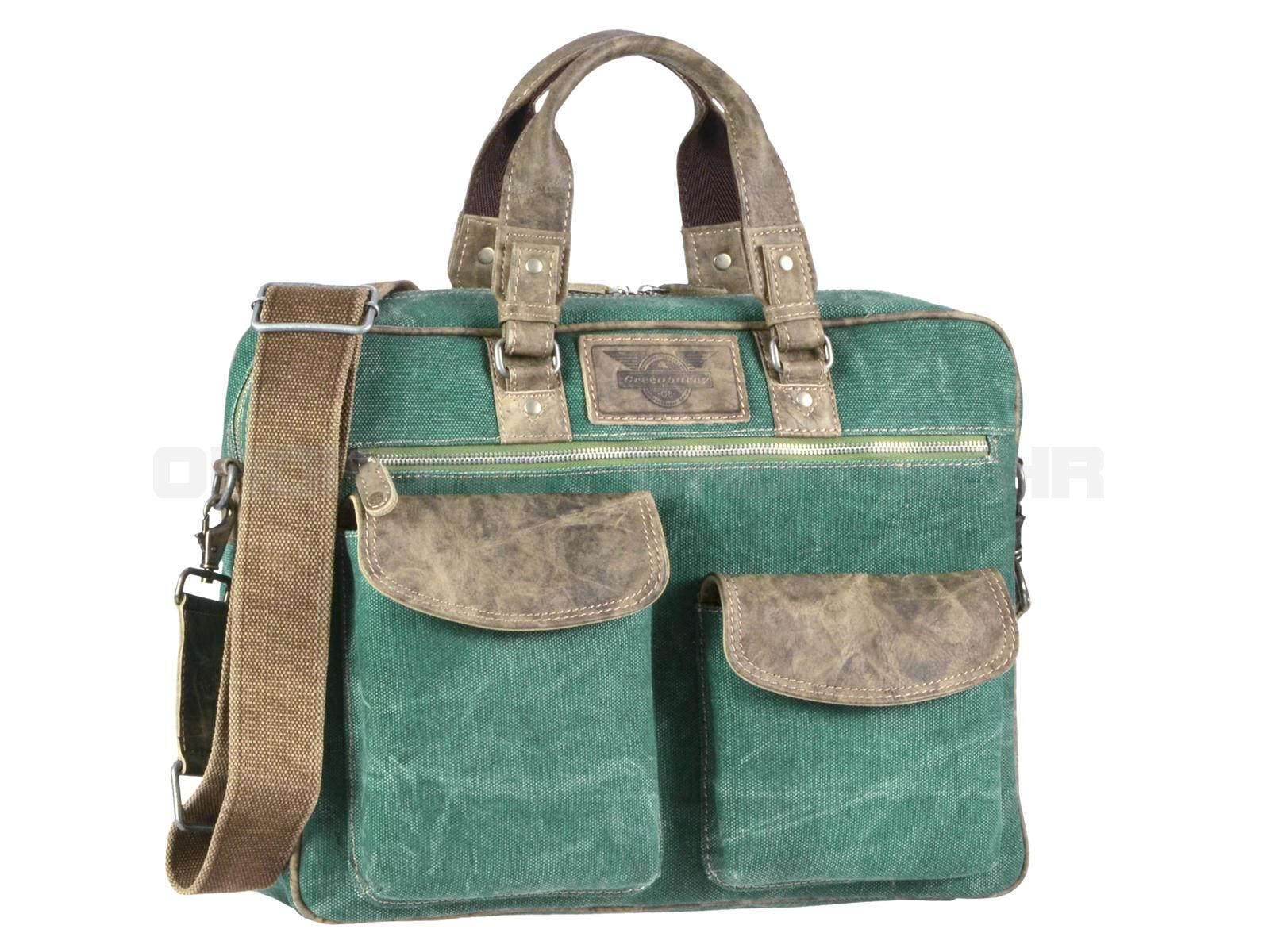 Greenburry Damen Businesstasche aus Canvas mit Leder Aviator 1166