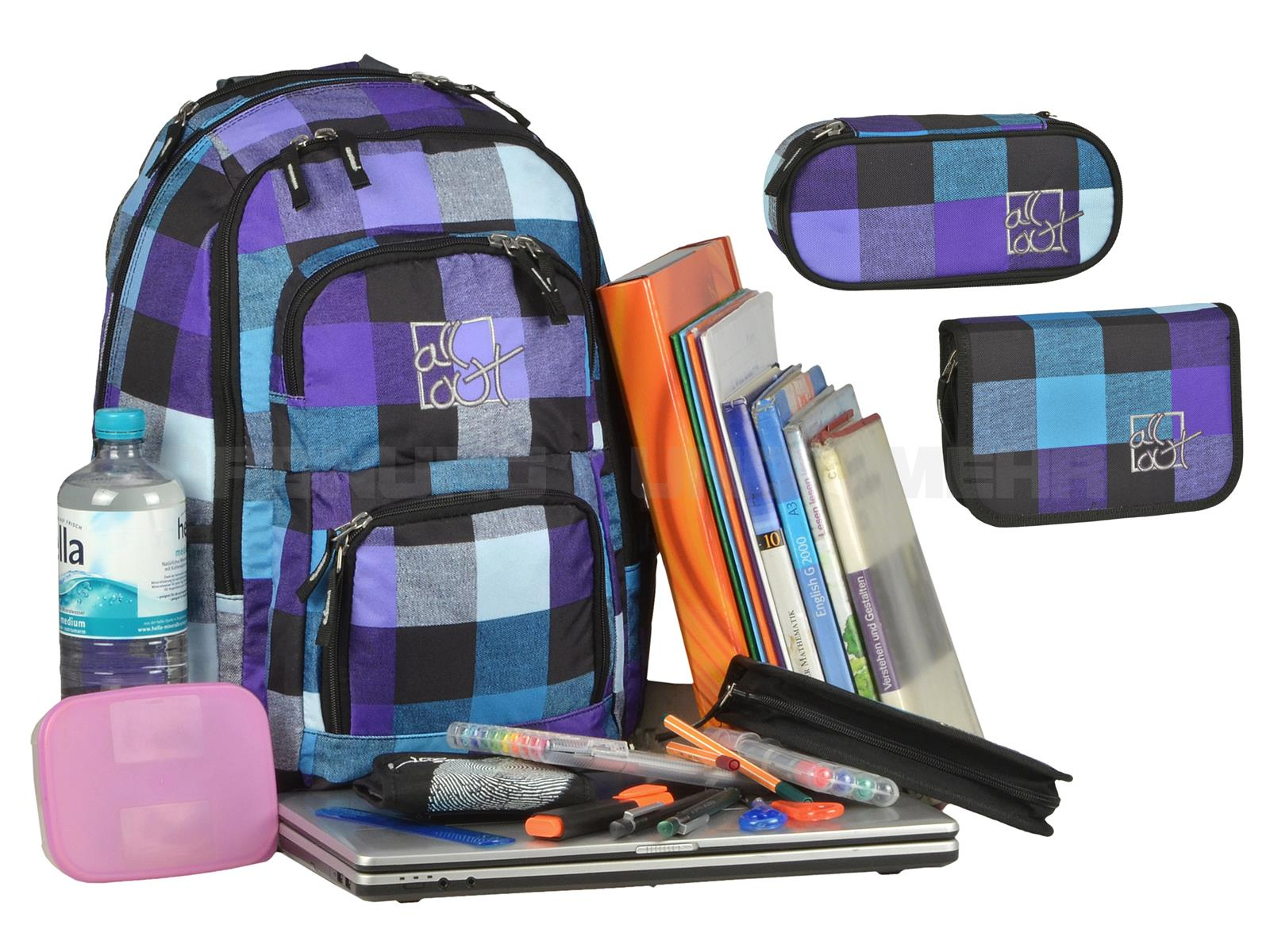 All Out Schulrucksack Sets - tolle Designs günstig im 3teiligen Set - Louth CARRIBEAN CHECK türkis lila kariert