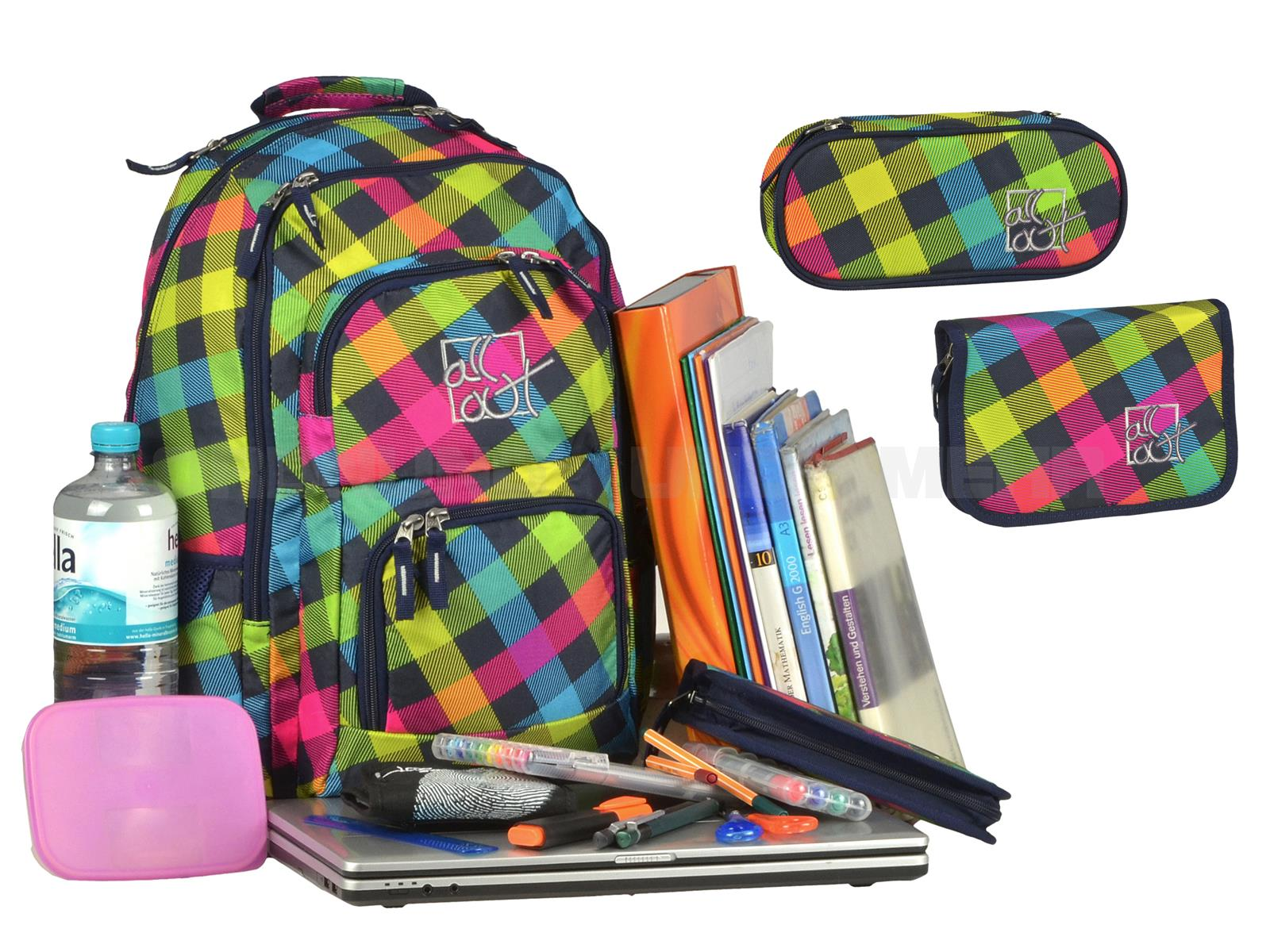 All Out Schulrucksack Sets - tolle Designs günstig im 3teiligen Set - Louth RAINBOW CHECK bunt