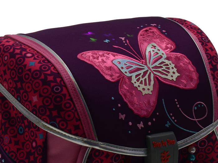Step by Step TOUCH 2 FLASH - Schulranzen Set 4-teilig - SHINY BUTTERFLY mit LED-Blinklicht