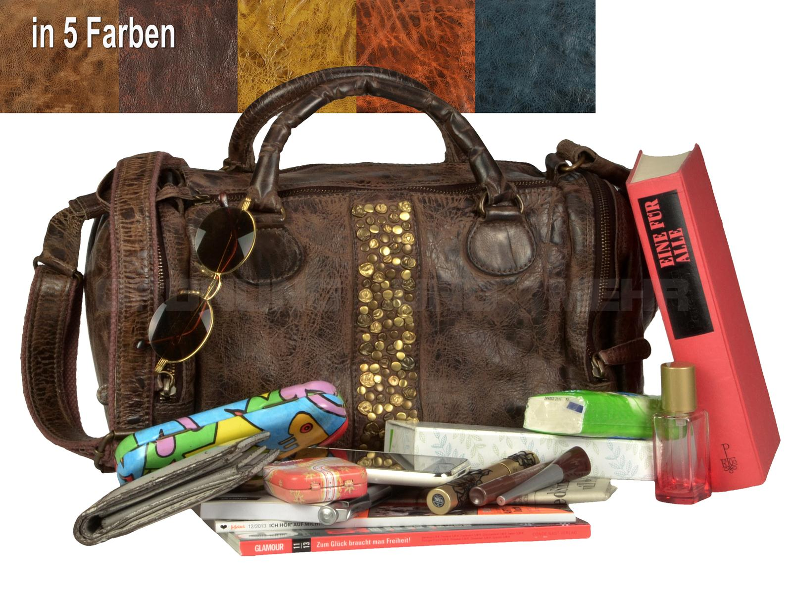 Modische Damentaschen aus Leder BILLY THE KID Modell EMMA Shopper mit Nieten Handtasche