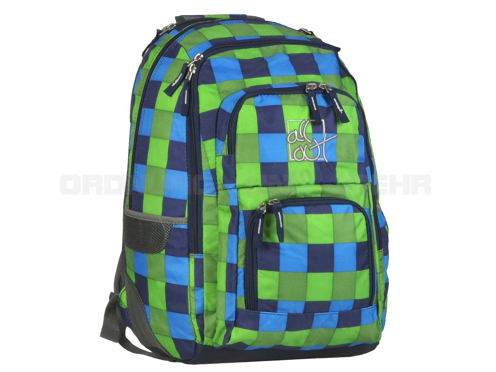 All Out Schulrucksack Sets - tolle Designs günstig im 3teiligen Set - Louth POOL CHECK blau grün