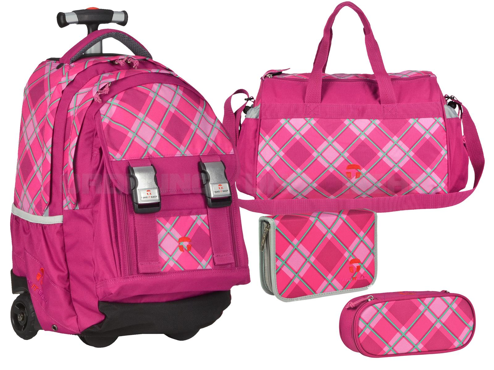 Take it Easy Schultrolley Set FANTASY 4-teilig pink kariert