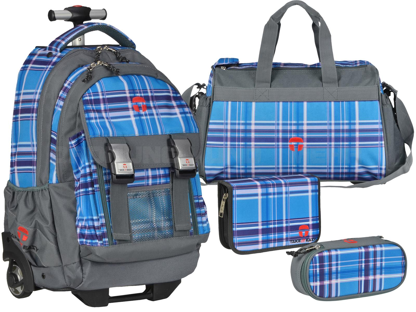 Take it Easy Schultrolley Set VIOLA BLUE 4-teilig grau blau schwarz kariert