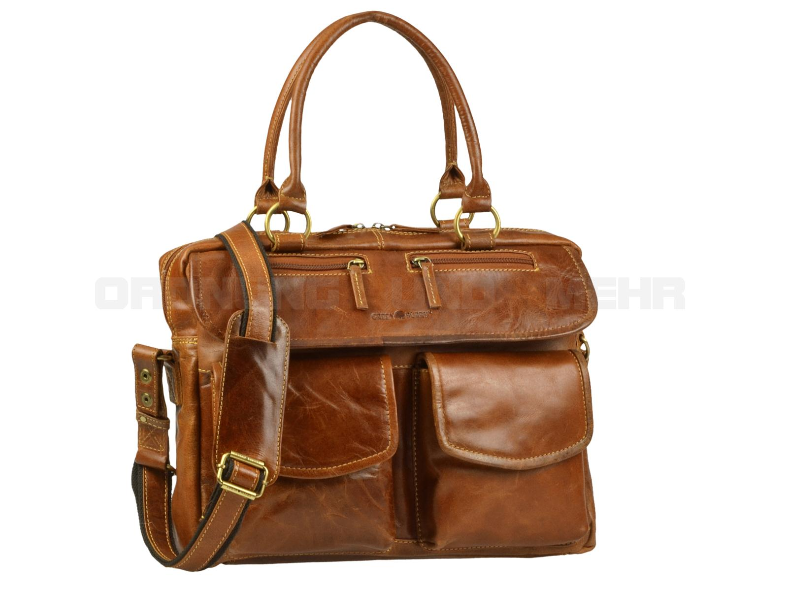 Greenburry EXPEDITION Leder - Damen Businesstasche Aktentasche Lehrertasche - cognacbraun 564-24