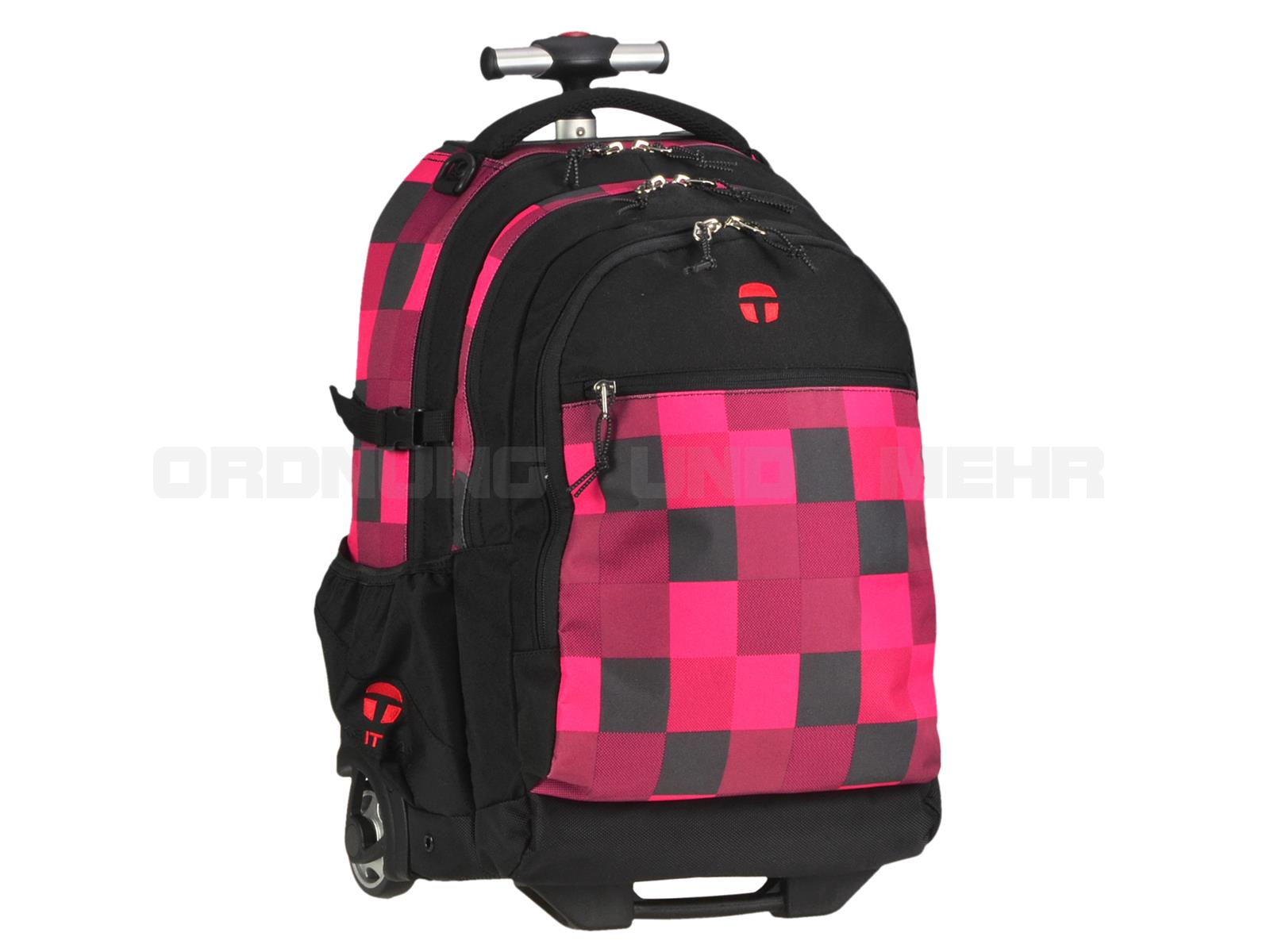 Take it Easy Rucksack Trolley FIRE in pink schwarz karo 28045-481-209