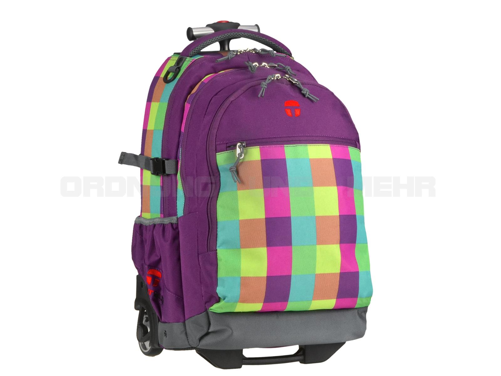 Take it Easy Rucksack Trolley SOHO in grün prink violett karo 28045-482-210